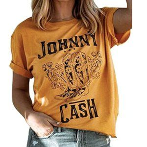 Johnny Cash Cowboy Boots Western Graphic Tee